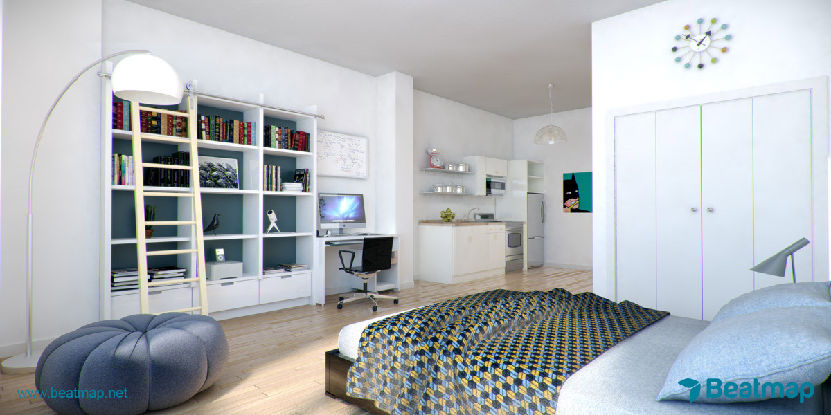 The lofts at seven 3d renderings by beatmap san for Studio apartment area