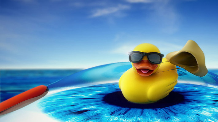 Duck on eye – 3D animation + renderings