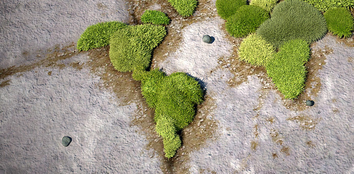 World map on pavement – 3D rendering